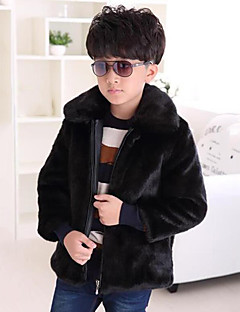cheap Boys' Clothing-Boys' Solid Jacket & Coat,Faux Fur Special Fur Types Winter Long Sleeve Brown Black