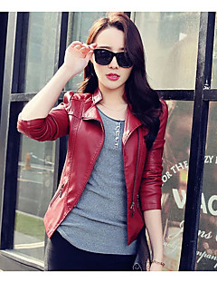 Women's Holiday Going out Simple Street chic Fall Winter Leather Jacket,Solid Stand Long Sleeve Short PU