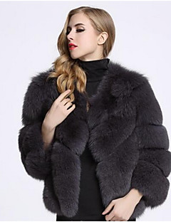 Women's Daily Simple Casual Winter Fall Fur Coat,Solid Round Neck Short Fox Fur