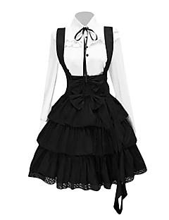 Roupa Lolita Clássica e Tradicional Inspiração Vintage Cosplay Vestidos Lolita Preto Vintage Manga Longa Comprimento Médio Blusa Vestido
