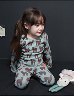 Para Meninas Roupa de Dormir Animal Outono Inverno-Elastano-Manga Longa