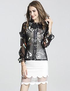 ieftine DFFD-Pentru femei Sleeve Flare Chinoiserie / Sofisticat Bluză - Mată / Geometric, Fustă Bufantă Stand