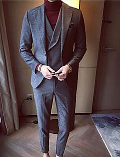 メンズ カジュアル/普段着 秋 冬 スーツ,シンプル ノッチドラペル ソリッド レギュラー ポリエステル 長袖