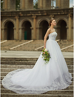 cheap Wedding Dresses-Ball Gown Strapless Straight Neckline Cathedral Train Satin Tulle Beaded Lace Custom Wedding Dresses with Beading Appliques by LAN TING