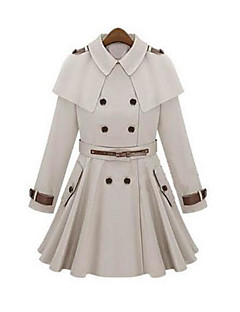 Damen Solide Einfach Ausgehen Lässig/Alltäglich Trench Coat,Hemdkragen Herbst Lange Ärmel Lang Andere
