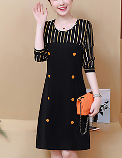 Women's Going out Plus Size Sheath Dress,Striped Round Neck Knee-length Long Sleeves Polyester Winter Fall Mid Rise Inelastic Medium