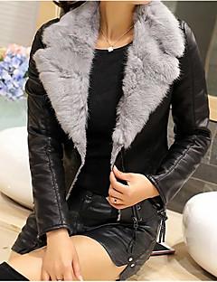 レディース お出かけ 冬 レザージャケット,ストリートファッション Vネック ソリッド ショート カシミヤ ポリウレタン 長袖