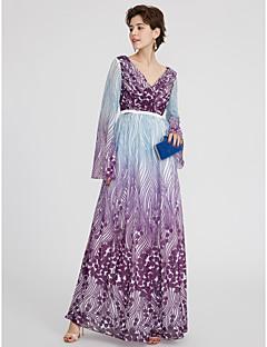 Linia -A Gât V Lungime Podea Șifon Seară Formală Rochie cu Eșarfă / Panglică Pliuri de TS Couture®
