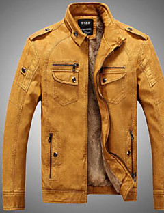 Men's Casual/Daily Simple Fall Winter Leather Jacket,Solid Stand Long Sleeve Regular Modal