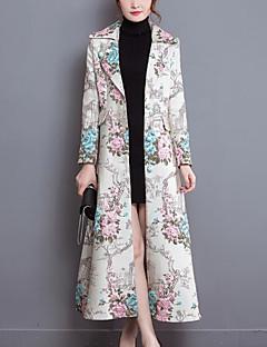 Damen Blumenmuster Chinoiserie Lässig/Alltäglich Trench Coat,Hemdkragen Herbst Winter Lange Ärmel Lang Polyester Elasthan