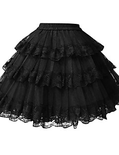 billiga Lolitamode-Klassisk / Traditionell Lolita Lolita Ruffle Dress Dam Underkjol Cosplay Vit / Svart Mini Halloweenkostymer
