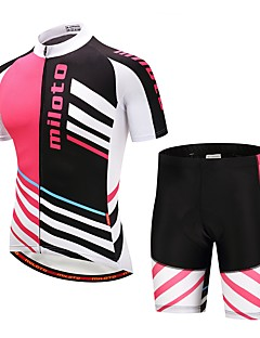 Miloto Cycling Jersey with Shorts Unisex Short Sleeves Bike Clothing Suits Stretchy Autumn/Fall Summer Cycling/Bike Black/Red