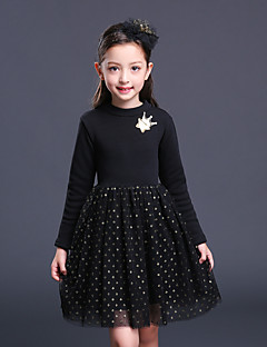 Girl's Solid Dress,Cotton Rayon Polyester Winter Fall Long Sleeve Vintage Party Elegant & Luxurious Black