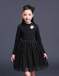 Mädchen Kleid einfarbig Baumwolle Kunstseide Polyester Herbst Winter Lange Ärmel