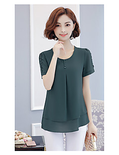 Women's Daily Casual Blouse,Solid Round Neck Short Sleeves Rayon