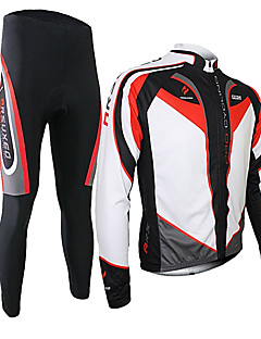 cheap Cycling Jersey & Shorts / Pants Sets-Arsuxeo Men's Long Sleeves Cycling Jersey with Tights - Black/Red Bike Clothing Suits, Thermal / Warm, Quick Dry, Breathable, 3D Pad