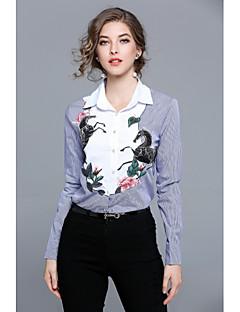 レディース カジュアル/普段着 ワーク オールシーズン シャツ,シンプル ストリートファッション シャツカラー 刺繍 コットン 長袖