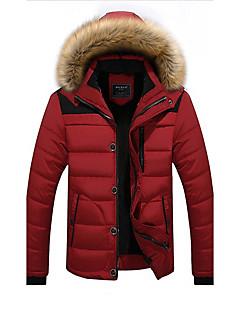 コート レギュラー パッド入り メンズ,お出かけ カジュアル/普段着 ソリッド カラーブロック ポリエステル スパンデックス コットン-シンプル 長袖