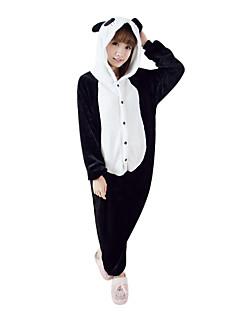 ieftine -Pijama Kigurumi Panda Pijama Întreagă Costume Lână polară Negru/Alb Cosplay Pentru Adulți Sleepwear Pentru Animale Desen animat Halloween