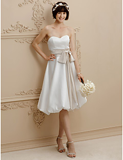 cheap Plus Size Wedding Dresses-A-Line Sweetheart Knee Length Satin Custom Wedding Dresses with Bow(s) Draping Sashes/ Ribbons by LAN TING BRIDE®