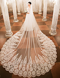 cheap Wedding Veils-One-tier Wedding Veil Cathedral Veils 53 Appliques Lace Tulle