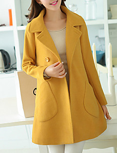 Women's Going out Simple Casual Winter Fall Coat,Solid Shirt Collar Long Sleeve Regular Polyester