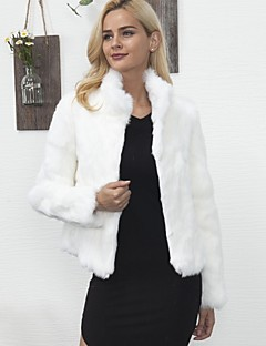 Women's Daily Going out Work Simple Vintage Casual Active Winter Fall Fur Coat,Solid Stand Long Sleeve Regular Faux Fur Polyester