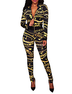 Women's Going out Club Vintage Boho Spring Fall Set Pant Suits,Print Color Block V Neck Polyester Micro-elastic
