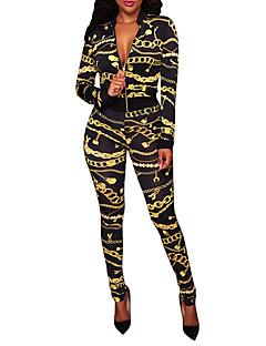 Dámské Tisk Barevné bloky Jdeme ven Klub Vintage Cikánský Sada Kalhoty Obleky-Jaro Podzim Polyester Do V Mikro elastické