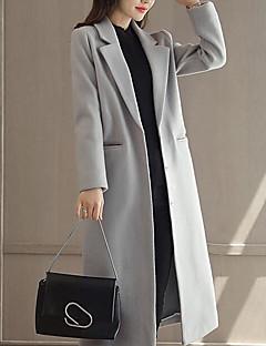 baratos -Feminino Casaco Diário Simples Casual Inverno Outono,Sólido Longo Lã Poliéster Colarinho de Camisa Manga Comprida