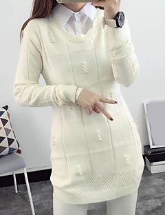 baratos Suéteres de Mulher-Mulheres Manga Longa Lã Pulôver - Sólido Lã