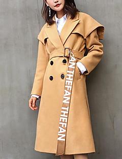 Damen Solide Einfach Lässig/Alltäglich Trench Coat,Schal Revers Herbst Lange Ärmel Lang Polyester