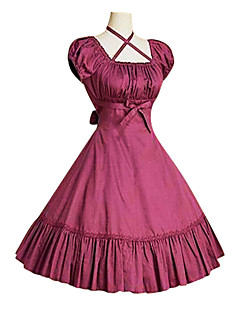 One-Piece/Dress Classic/Traditional Lolita Vintage Cosplay Lolita Dress Red / Black / Gray / Fuschia Short Sleeve Knee-length Pure Color Dress