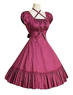 한 조각/드레스 클래식/전통적 롤리타 빈티지 스타일 코스프레 로리타 드레스 블랙 그레이 후크시아 빈티지 퍼프/벌룬 짧은 소매 중간 길이 드레스 에 대한 면