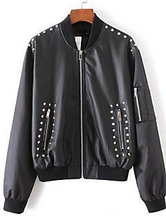 レディース お出かけ 秋 レザージャケット,ストリートファッション ラウンドネック ソリッド レギュラー 合皮 長袖