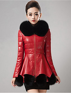 billiga Dampälsar och läder-Enfärgad Fur Coat Dam Peter Pan-krage PU
