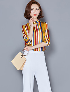 Women's Casual/Daily Sophisticated Shirt,Striped Stand 3/4 Length Sleeves Polyester