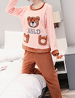 Women's Suits Pajamas,Animals Cotton Polyester Camel