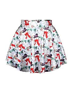 billige julen Kostymer-Snømann Skjørt Kvinnelig Jul Festival / høytid Halloween-kostymer Regnbue Printer