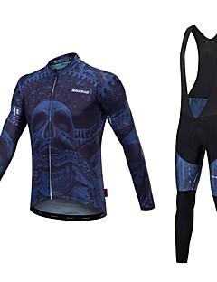 Malciklo Sykkeljersey med bib-tights Unisex Langermet Sykkel Jersey Tights Med Seler Reflekterende Stripe Fort Tørring Anatomisk design
