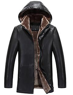 メンズ カジュアル/普段着 秋 冬 レザージャケット,シンプル フード付き ソリッド レギュラー Lambskin 長袖