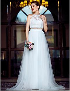 billiga Plusstorlek brudklänningar-Tvådelad Prydd med juveler Hovsläp Tyll på spets Bröllopsklänningar tillverkade med Applikationsbroderi / Spets av LAN TING BRIDE®