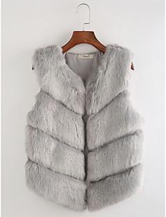 Damen Solide Gestreift Einfach Lässig/Alltäglich Weste,V-Ausschnitt Herbst Winter Ärmellos Lang Polyester