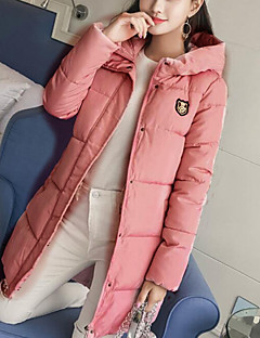 Damen Gefüttert Mantel Einfach Lässig/Alltäglich Solide Druck-Polyester Polypropylen Langarm