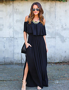 abordables Robes pour Femme-Femme Travail Chic de Rue Coton Gaine Robe Couleur Pleine Bateau Maxi Noir