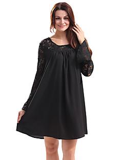 Feminino Camiseta Feriado Casual Vintage Moda de Rua Primavera/Outono Primavera/Outono/Inverno/Verão,Sólido Oco Vintage Poliéster Decote