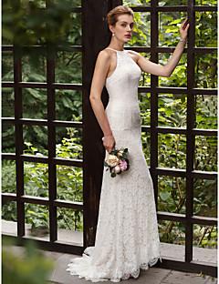 billiga Plusstorlek brudklänningar-Trumpet / sjöjungfru Halterneck Svepsläp Heltäckande spets Bröllopsklänningar tillverkade med Applikationsbroderi / Spets av LAN TING BRIDE® / Öppen Rygg