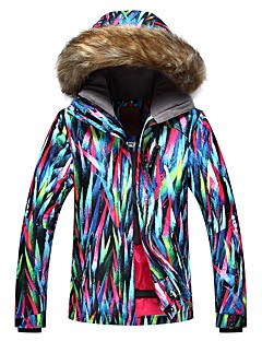 お買い得  スキーウェア-GSOU SNOW 女性用 スキージャケット ウォーム 防水 防風 通気性 スキー 環境に優しい ポリエステル 絹布