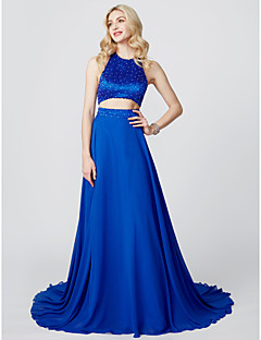 cheap Special Occasion Dresses-A-Line Princess Jewel Neck Court Train Chiffon Satin Cocktail Party / Prom / Formal Evening / Black Tie Gala / Holiday Dress with Beading