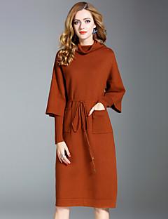 Χαμηλού Κόστους Γυναικεία Φορέματα-Γυναικεία Κομψό στυλ street Πλεκτά Φόρεμα - Μονόχρωμο Ως το Γόνατο Ζιβάγκο